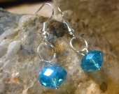 Aqua Blue Earrings, Faceted Crystal Handmade Earrings, Blue Jewelry, Gift Ideas for Her from The Hidden Meadow
