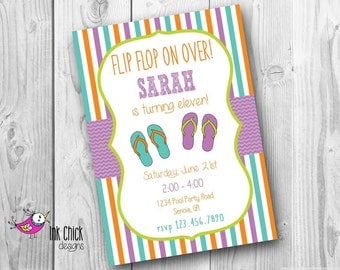 Flip Flop Birthday Invitation, Pool Party Birthday Invitation, Swimming Party, Printable, Digital File