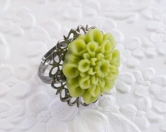 Green Ring, Lime Green Ring, Green Flower Ring, Lime Green Mum Ring, Gunmetal Ring, Adjustable Ring, Bridesmaids Gift, Wedding Jewelry
