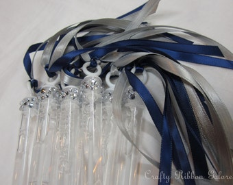 100 Ceremony Exit Wedding Bubble Wands with rhinestone and (2) ribbons