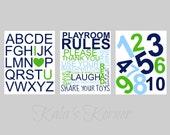 PLAYROOM ART - Playroom Decor - Playroom Rules - Custom Playroom Decor - 3 Piece Print Set