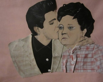 Elvis kissing Mama in Leather and in 3D! Hangs 25 x 20