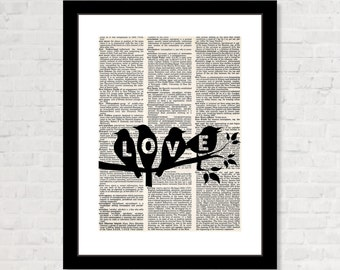 Love Birds -Dictionary Art Print Poster - Anniversary Gift, Guest Book Table, Wedding Shower Gift,