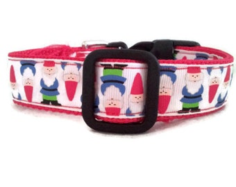 Dog Collar GNOMES * Adjustable Buckle  OR Martingale Collar **