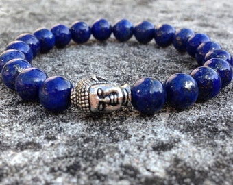Stretch bracelet with Lapis Lazuli 8mm and buddha head