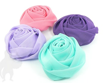 Large Chiffon Rolled Flowers