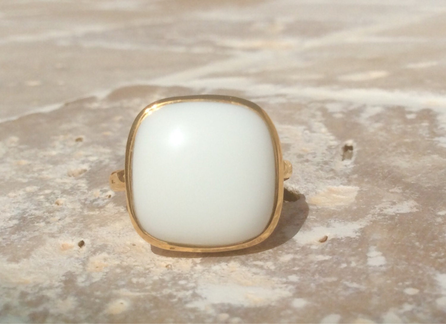 unisex ring mens ring white agate vermeil ring