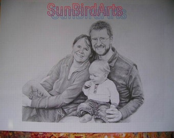 Custom original pencil drawing portrait,hand painted pencil portrait,children portrait,wedding portrait,family portrait and etc,Three Person