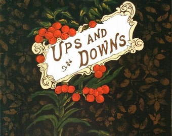 Ups and Downs. OOAK original painting of an antique book cover.