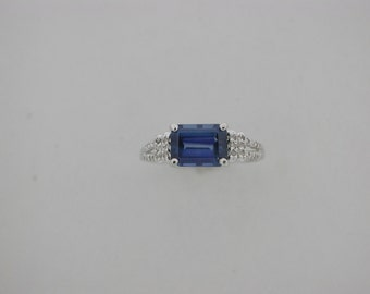 Natural Sapphire Diamond Ring 14kt White Gold