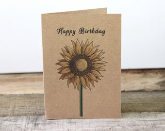 Happy Birthday Sunflower Card / Rustic Birthday Card / Kraft Birthday Card