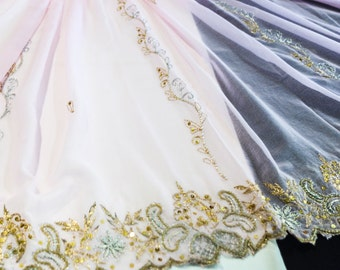 Pink Georgette Fabric with Ornate Silver and Gold Beaded Edges
