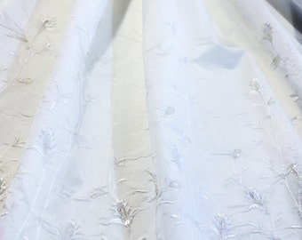 Ivory White Silk Dupioni Fabric with Embroidered White Climbing Floral Edge