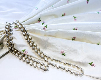 Ivory White Raw Silk Fabric with Small Embroidered and Sequined Pink Flowers