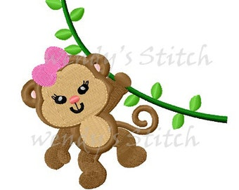 monkey girl machine embroidery design instant download