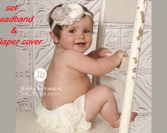 Ivory Diaper Cover and Headband Baby Girl Headband Newborn Headband Infant Bloomer and Headband Baby Bow Headband Ivory Diaper Cover