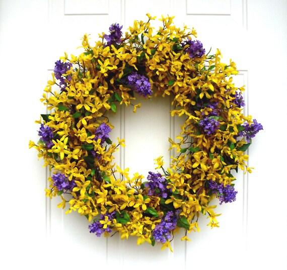 Forsythia wreath yellow - Spring Wreath Forsythia Wreath Lilac Wreath Door Wreath