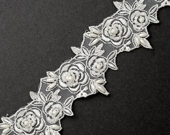 Pearl Beaded Flower Ribbon Lace Trim, Bridal Lace, 2 Inch by 1 Yard, White, ROI-44597