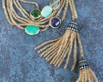 "CITRINE LARIAT,Mixed with Semi Precious Charms,Gorgeous Bronze and Zircon caps.77""!!"