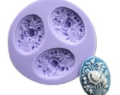 3 Cavity Rose Flower Polymer Clay Mold Flexible Silicone Mould For Handmade Soap Candle Candy Cake Fimo Resin Crafts