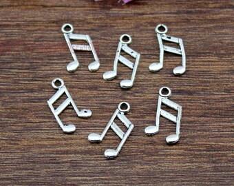 60pcs-- Music note Charms, Antique Tibetan Silver Tone Treble Clef charm pendants, musical charm  8x14mm