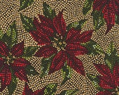 Holiday Inspirations Stained Glass Poinsettia Metallic, Cotton Fabric by the Yard