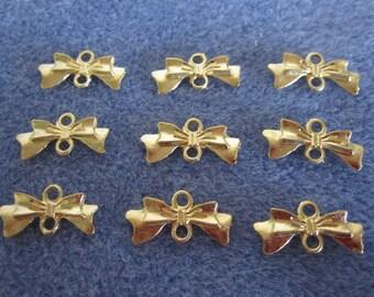 20 - Gold Bow Tie Charm Connectors