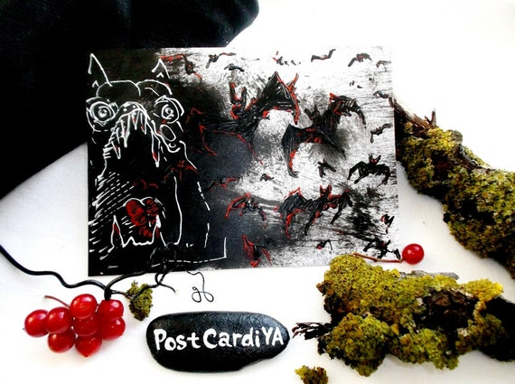Monster Bats Card Fear Darkness Horror Gothic Vampire Blood Fall Card