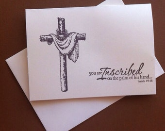 7 Christian inspirational scripture note cards and envelopes. Ivory cards .