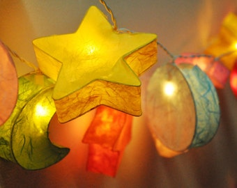 Mixed mulberry paper moon-star string lights for party decorations (20 bulbs)