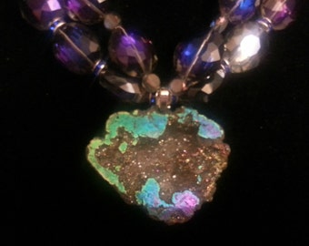 Flashy Titanium Peacock Druzy Geode Faceted Quartz Crystal Stunning Bling Necklace Pageant Wedding Bridal Black Tie Jeans Brilliance Icey