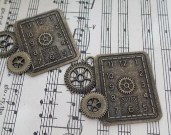 2pcs-Rectangle Metal Gear clock Trinket/NEB14-Bronze metal trinket/Rectangle metal embellishment