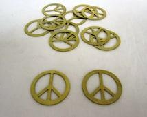 2 Raw Brass Filigree Peace Sign Sal 6160