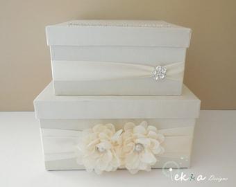Wedding gift card box/ wedding card box / money box / wedding card holder / 2 Tier (Ivory & Ivory)