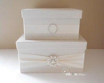 Wedding gift card box / Wedding card box / wedding  money box / wedding card box holder / wedding card holder / 2 Tier (Ivory & Ivory)