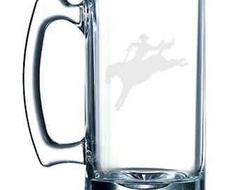 Wild West Rodeo - Cowboy on Horseback Lasso v.2  -  26 oz glass mug stein
