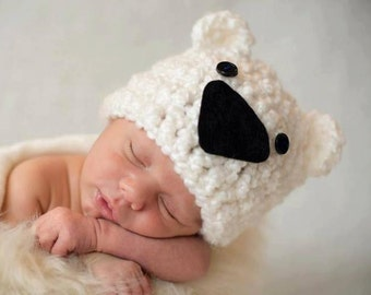 Handmade Crochet Teddy Bear Baby Hat, Infant Newborn Baby Shower Gift, Photo Prop, Animal Hat