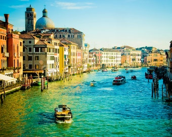 Italy Photography - Travel, Romantic Wall Art - Colorful Canals of Venice, Italy