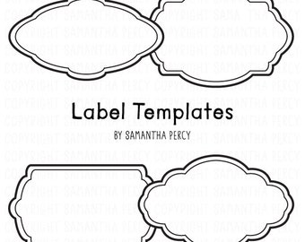Label Template Frame Clipart - Personal and Commercial Use Clipart - Instant Download Digital Graphic