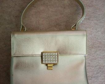 Walborg Silver Leather Rhinestone  Envelope Purse - 2197