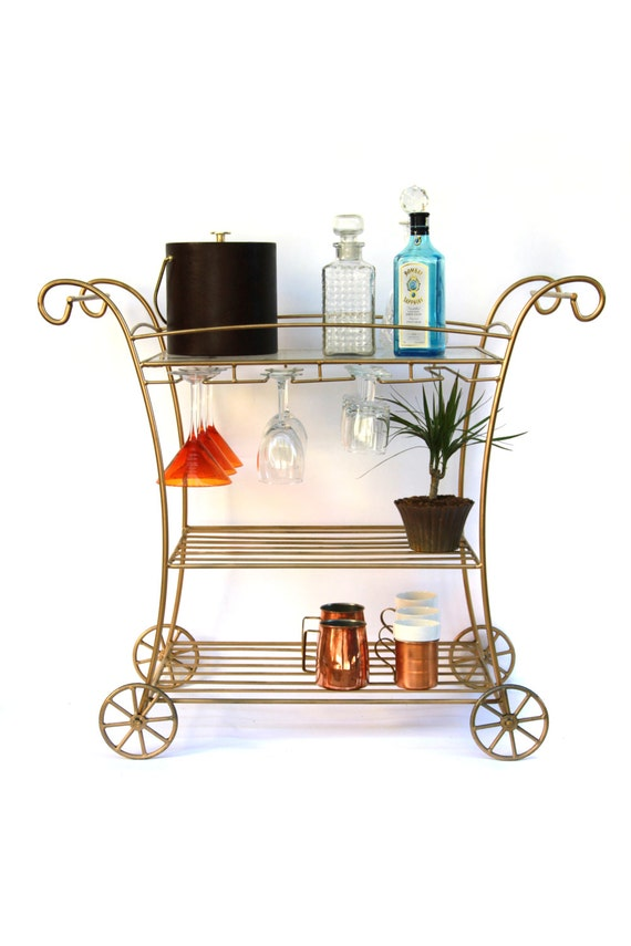 SALE // French Style Gold Wire Metal Bar Cart
