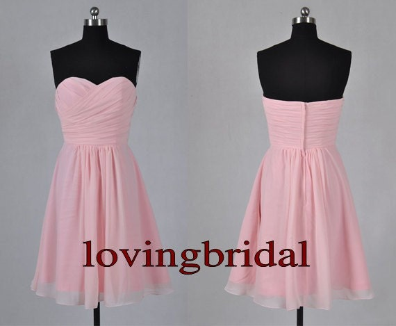 2014 Short Pink Chiffon Prom Dress  Bridesmaid Dress Party Dress Simple Homecoming Dress Formal Prom Dress Custom