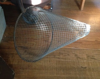 1930's Antique Skimmer/Fishing Wire Net, Very Large 7 foot handle, 16 inch diameter opening