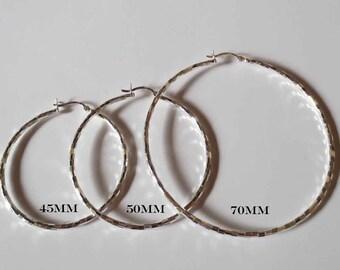 Sterling Silver Diamond Cut Hinged Hoop Earrings/Large Hinged Hoops/Gypsy Hoops/Large Hoops/Big Sterling Silver Hoops