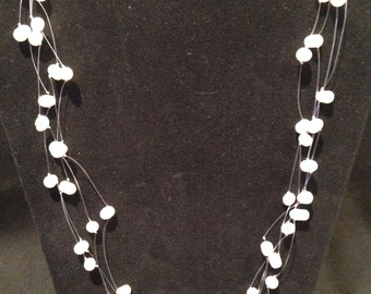 White Sea Pearl Illusion Necklace