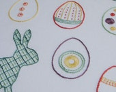 Easter Egg Hunt modern hand embroidery pattern, rabbit and eggs - modern embroidery PDF pattern, digital download
