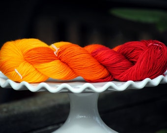 Flaming Sunset - Hand Painted Superwash Merino Yarn