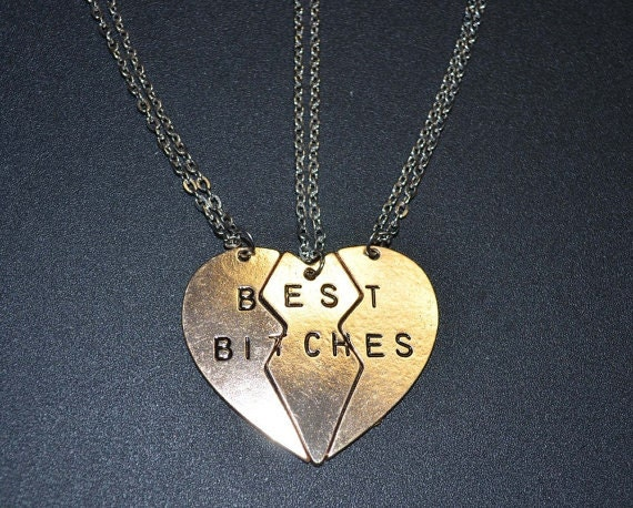 Best Bitches 3 way three piece necklace forever friends split heart    Three Best Friends Forever Necklace