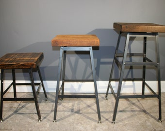 Salvaged Urban Wood Seating - Industrial Bar Stool -From Salvaged Barn Wood - FAST SHIPPING
