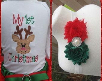 Reindeer My  first Christmas shirt